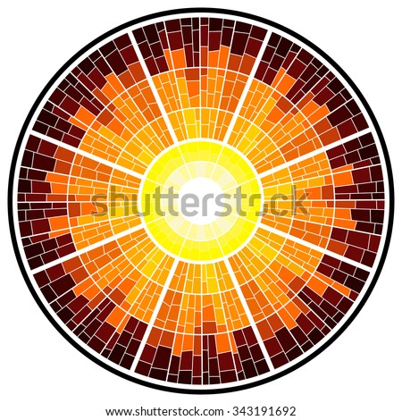Colorful illustration background of sun glow with rays. Stained glass window mosaic style. Vector design. - stock vector