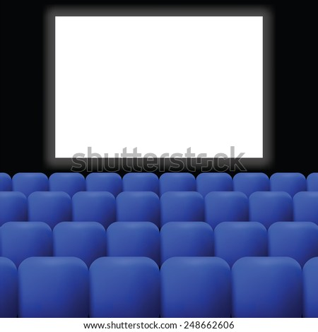 colorful illustration  cinema with blue curtain on dark background - stock vector