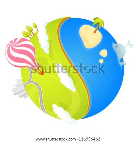 colorful illustration of a cute small planet with ocean, green landscape, trees, city and air balloon - stock vector