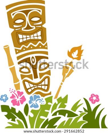 Colorful Illustration of a Tiki Statue Stencil - stock vector