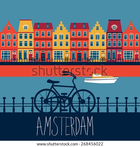 Colorful illustration of Amsterdam street with view to a channel - stock vector