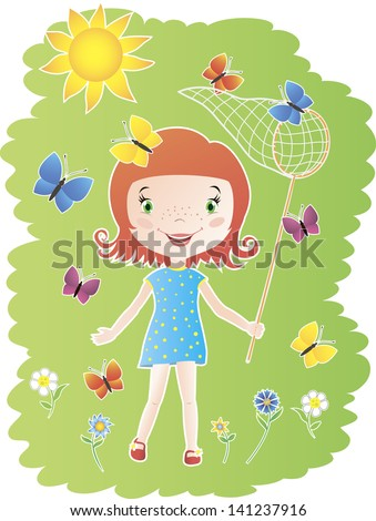Colorful illustration of cute little girl catching butterflies butterfly net - stock vector