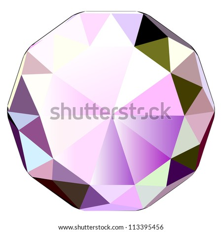 Colorful illustration of diamond, jewel stone vector icon - stock vector