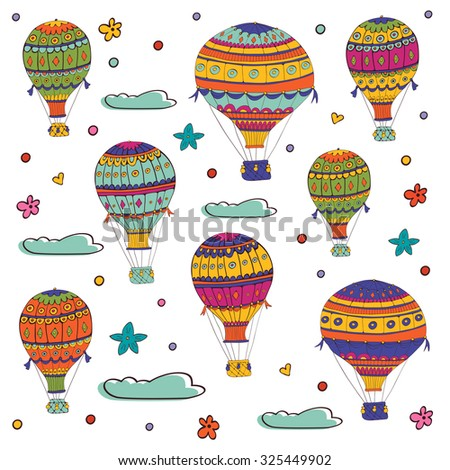 Colorful illustration of flying hot air balloons. Illustration in vector format - stock vector