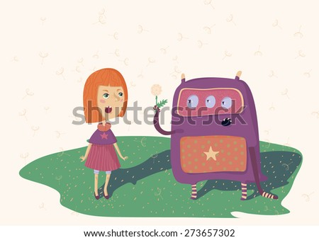 Colorful illustration of girl and monster, who stay on meadow with dandelions. Horizontal, vector. - stock vector