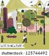 Colorful illustration of New York landmarks - stock photo