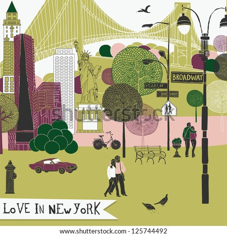 Colorful illustration of New York landmarks - stock vector