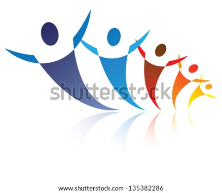 Colorful illustration of people together being positive and happy, The graphic represents symbols/icons of people as a community or friends or social network - stock vector