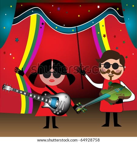 Colorful illustration with a band made from a young girl and a young man, playing at electric guitar and violin on a stage - stock vector