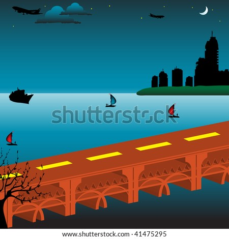 Colorful illustration with a huge bridge crossing the water straight into a modern city - stock vector