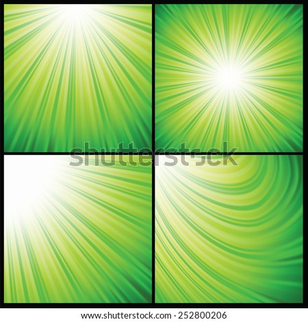 colorful illustration  with abstract green rays  background - stock vector