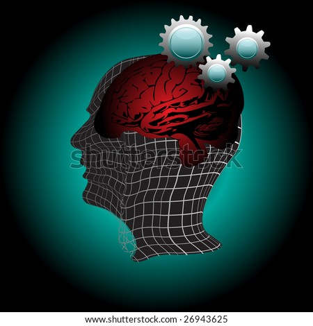 Colorful illustration with abstract human head, brain shape and cog wheels. Gears of the human mind - stock vector