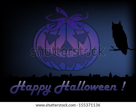 Colorful illustration with an owl watching the city during the night and an evil Halloween pumpkin floating like a ghost above the city. Halloween theme - stock vector