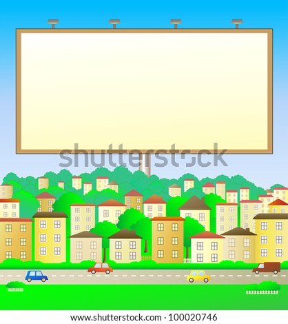 colorful illustration with billboard in city landscape - stock vector