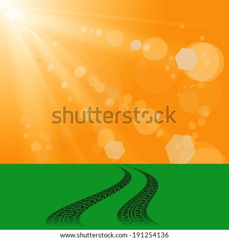 colorful illustration with car prints on abstract sun  background for your design - stock vector