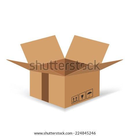 colorful illustration  with Cardboard box  on white background - stock vector