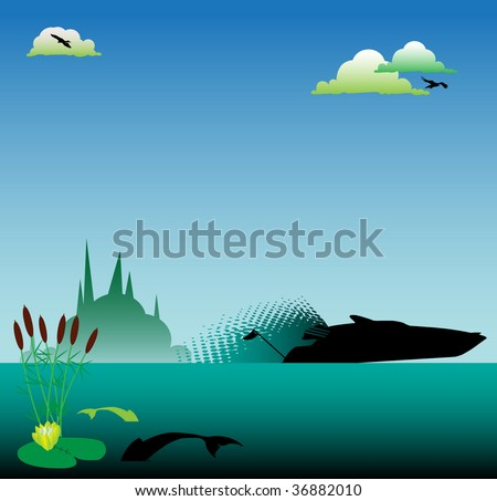 Colorful illustration with clouds, birds flying, reed and speed boat on the water - stock vector