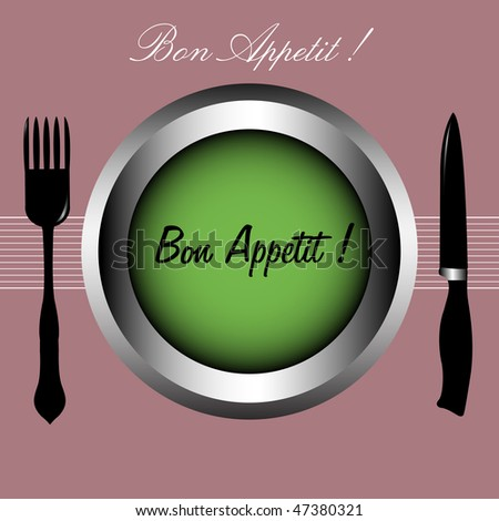 Colorful illustration with colored plate, fork, knife and the text bon appetit written on the plate