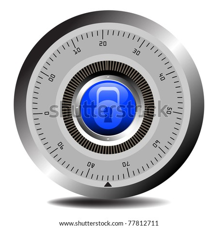 Colorful illustration with combination lock for vaults or secured doors. Safety concept - stock vector