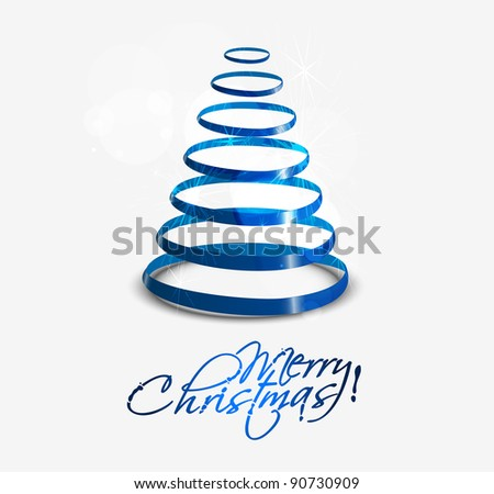 Colorful illustration with decorated blue Christmas tree. Christmas theme - stock vector