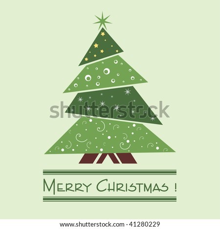 Colorful illustration with decorated green Christmas tree. Christmas theme