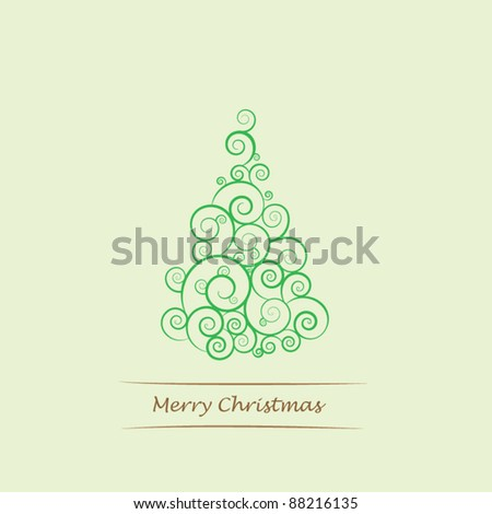 Colorful illustration with decorated green Christmas tree. Christmas theme - stock vector