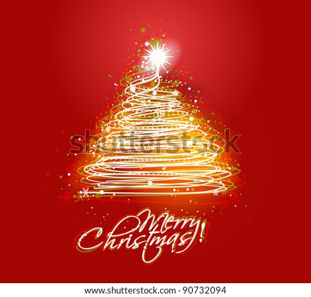 Colorful illustration with decorated red Christmas tree. Christmas theme