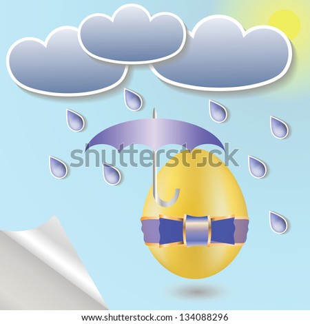 colorful illustration with  easter eggs and umbrella  for your design - stock vector
