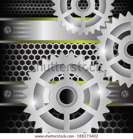 colorful illustration with gears background for your design - stock vector