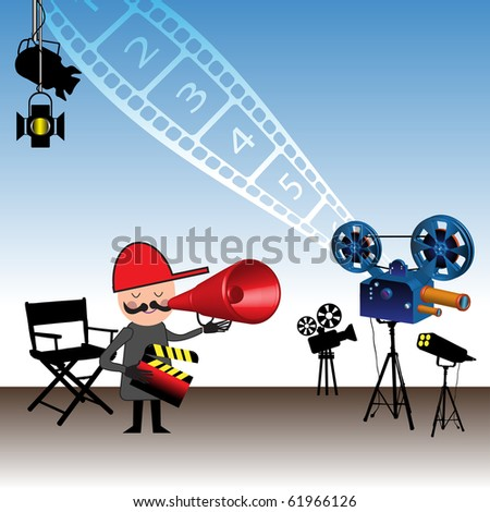 Colorful illustration with movie director holding a clapboard and giving instructions through a megaphone. Directing films theme - stock vector