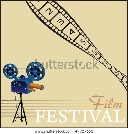 Colorful illustration with movie projector and numbered filmstrip. Film festival theme - stock vector