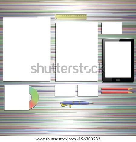 colorful illustration with office supplies on a desk for your design - stock vector