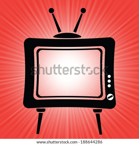 colorful illustration with old tv icon on a red background for your design - stock vector