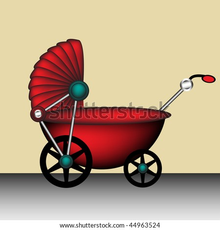 Colorful illustration with red baby carriage - stock vector