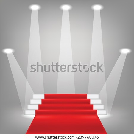 colorful illustration  with  red carpet on grey background - stock vector
