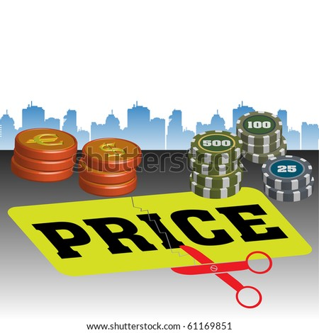 Colorful illustration with scissors cutting the word price, colorful coins and building shapes in the background. Price cut concept - stock vector