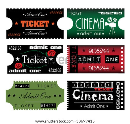 Colorful illustration with six tickets made in various styles - stock vector