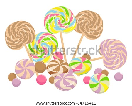 colorful illustration with sweet lollipops isolated