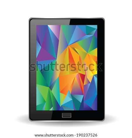 colorful illustration with tablet computer on a white background for your design - stock vector