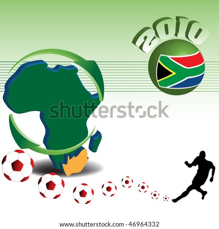 Colorful illustration with the shape of the African continent and a football player kicking football balls. World cup concept - stock vector