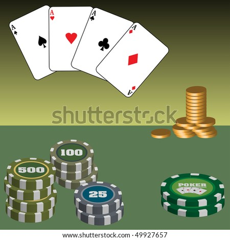 Colorful illustration with various colored poker chips, golden coins and four aces. Playing poker in casino - stock vector