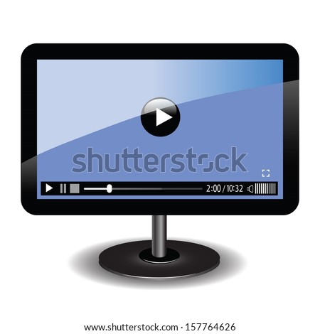 colorful illustration with video player  for your design - stock vector