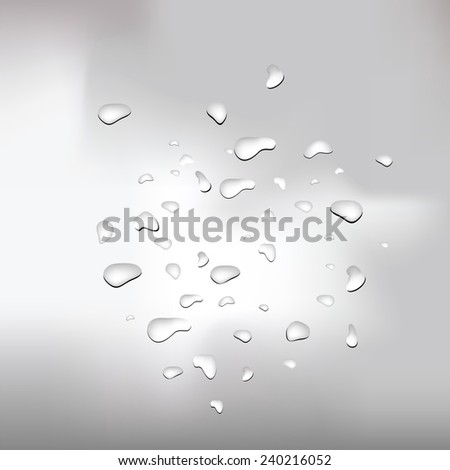 colorful illustration  with water drops on grey background - stock vector