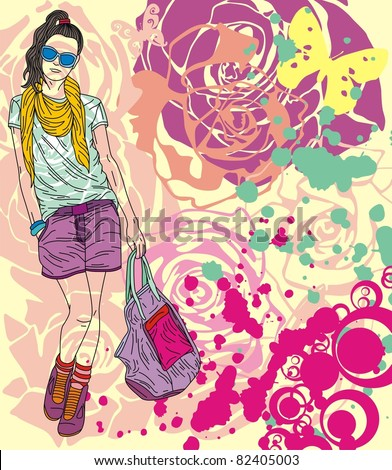Colorful image with fashion girl on floral background. Vector illustration - stock vector