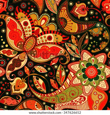 Colorful indian seamless pattern. Floral background, jeans texture effect