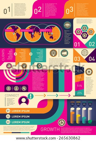Colorful info graphic elements. Vector illustration. - stock vector