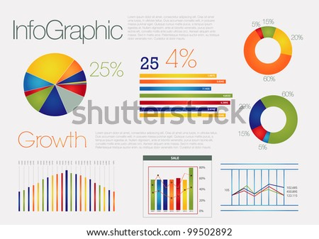 Colorful info graphic with elements - stock vector