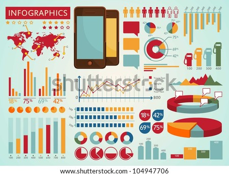 Colorful info graphics set - stock vector