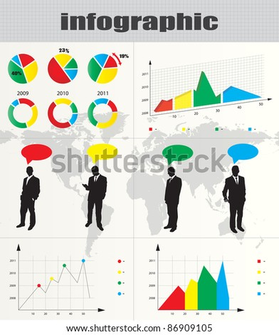 Colorful infographic and businessman silhouette collection - stock vector