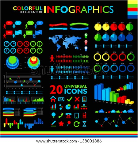 Colorful infographic set on black background and 25 universal icons